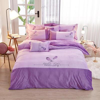 2019新款-水晶绒工艺款四件套 床单款2.0m(6.6英尺)床 美好生活-浅紫