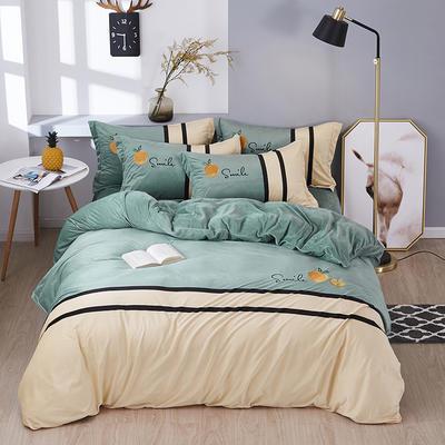 2019新款-水晶绒工艺款四件套 床单款2.0m(6.6英尺)床 甜蜜-豆绿