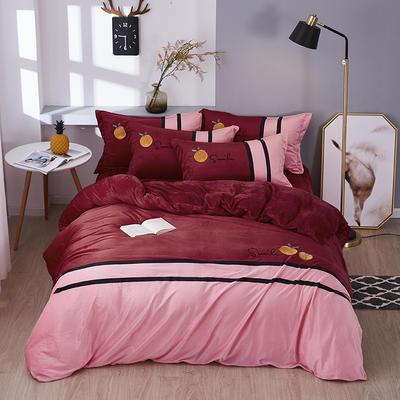 2019新款-水晶绒工艺款四件套 床单款2.0m(6.6英尺)床 甜蜜-酒红