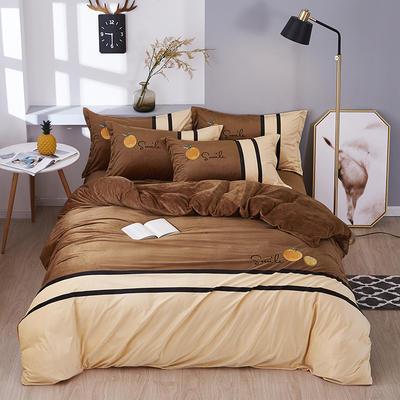2019新款-水晶绒工艺款四件套 床单款2.0m(6.6英尺)床 甜蜜-咖啡