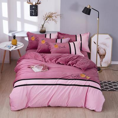 2019新款-水晶绒工艺款四件套 床单款2.0m(6.6英尺)床 甜蜜-浅豆沙