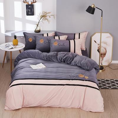 2019新款-水晶绒工艺款四件套 床单款2.0m(6.6英尺)床 甜蜜-浅灰