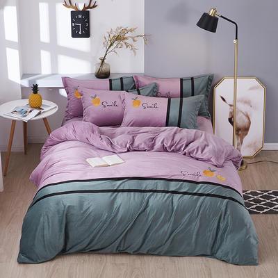 2019新款-水晶绒工艺款四件套 床单款2.0m(6.6英尺)床 甜蜜-浅紫