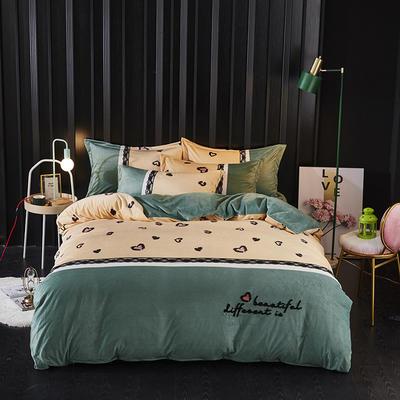 2019新款-水晶绒工艺款四件套 床单款2.0m(6.6英尺)床 甜心豹纹-豆绿