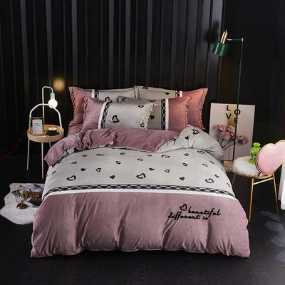 2019新款-水晶绒工艺款四件套 床单款2.0m(6.6英尺)床 甜心豹纹-豆沙