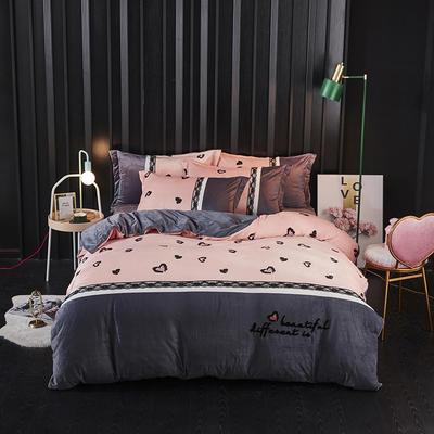 2019新款-水晶绒工艺款四件套 床单款2.0m(6.6英尺)床 甜心豹纹-紫灰