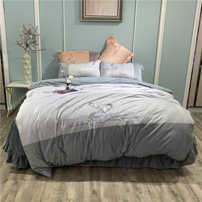 2019新款-水晶绒工艺款四件套 床单款1.8m(6英尺)床 美好生活-蓝灰