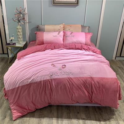2019新款-水晶绒工艺款四件套 床单款1.8m(6英尺)床 美好生活-浅豆沙