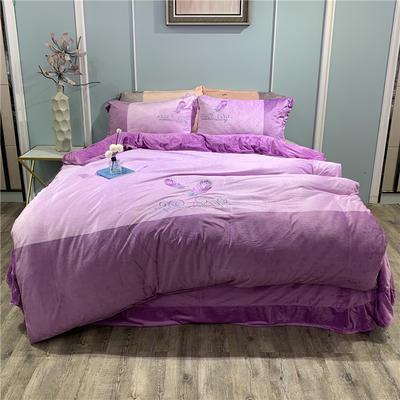 2019新款-水晶绒工艺款四件套 床单款1.8m(6英尺)床 美好生活-浅紫