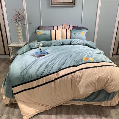 2019新款-水晶绒工艺款四件套 床单款1.8m(6英尺)床 甜蜜-豆绿