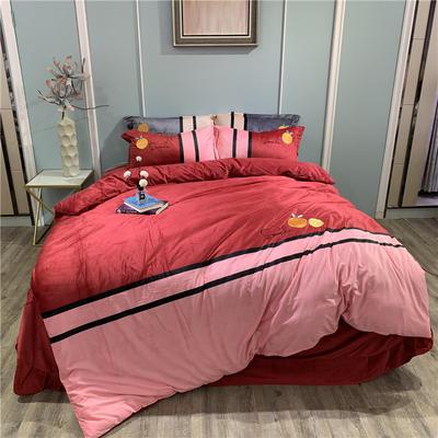 2019新款-水晶绒工艺款四件套 床单款1.8m(6英尺)床 甜蜜-酒红