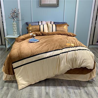 2019新款-水晶绒工艺款四件套 床单款1.8m(6英尺)床 甜蜜-咖啡