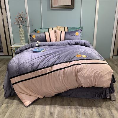 2019新款-水晶绒工艺款四件套 床单款1.8m(6英尺)床 甜蜜-浅灰