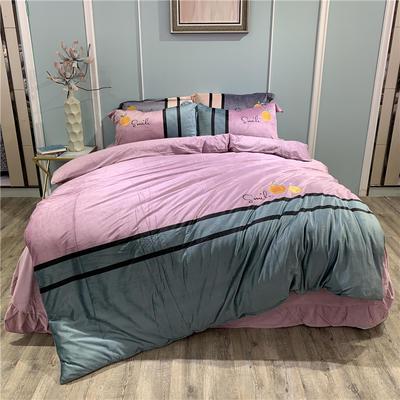 2019新款-水晶绒工艺款四件套 床单款1.8m(6英尺)床 甜蜜-浅紫