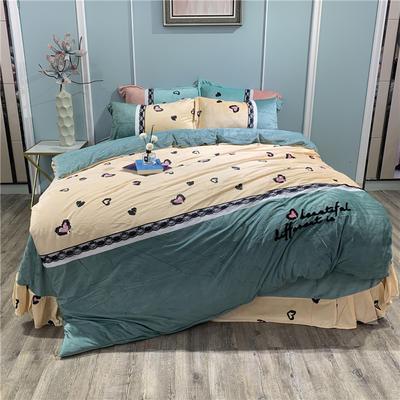 2019新款-水晶绒工艺款四件套 床单款1.8m(6英尺)床 甜心豹纹-豆绿