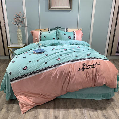 2019新款-水晶绒工艺款四件套 床单款1.8m(6英尺)床 甜心豹纹-粉绿