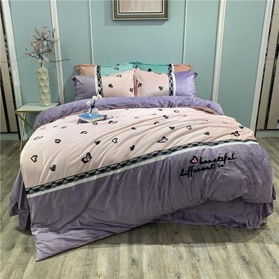 2019新款-水晶绒工艺款四件套 床单款1.8m(6英尺)床 甜心豹纹-粉紫