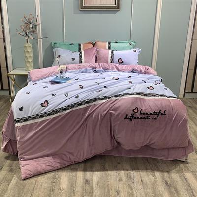2019新款-水晶绒工艺款四件套 床单款1.8m(6英尺)床 甜心豹纹-兰紫
