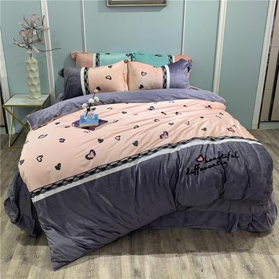2019新款-水晶绒工艺款四件套 床单款1.8m(6英尺)床 甜心豹纹-紫灰