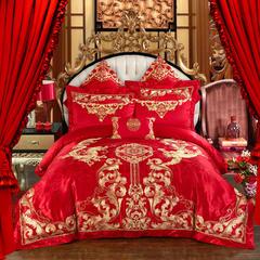 贡缎提花刺绣婚庆多件套 新款(情投意合) 标准 四件套床盖