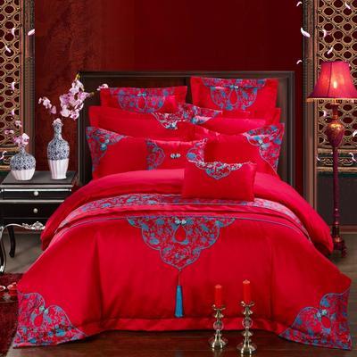 贡缎提花刺绣婚庆多件套  中式(十里红妆) 标准 四件套床单