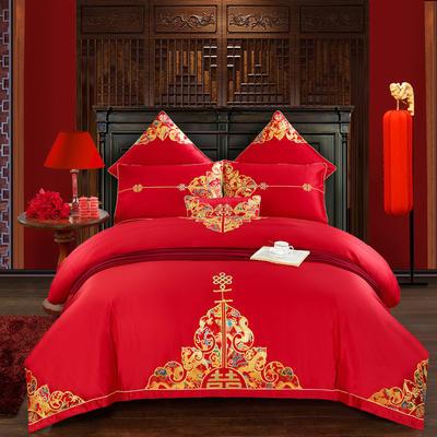 纯棉刺绣婚庆多件套   唐代佳人 标准(1.5m-1.8m床) 四件套(床单式)