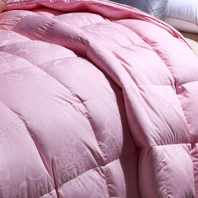 2018全棉贡缎提花羽绒被 200*230cm(80%白鸭绒) 粉色