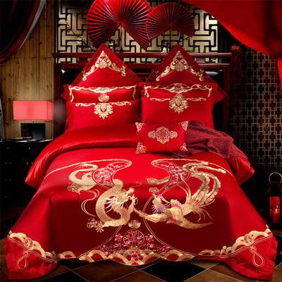 2018纯棉刺绣婚庆多件套--比翼双飞 1.8m(6英尺)床 比翼双飞  单四件套