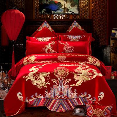 2018纯棉刺绣婚庆多件套--情比金坚 1.8m(6英尺)床 情比金坚  单四件套