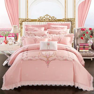 2018新款刺绣婚庆多件套--粉色罗马 1.5m-1.8m床 粉色罗马(四件套床单款)