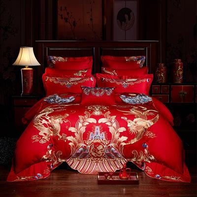 2019新款婚庆刺绣多件套--金妆红颜 1.5m/1.8m床 四件套(床单式)