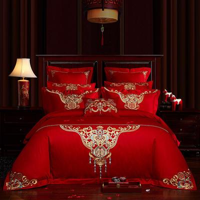 2019新款-40s13372純棉婚慶刺繡多件套系列-蜜漾花語 標準 四件套床單