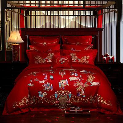 2019新款40s13372純棉婚慶刺繡多件套系列-百子百福 標準 四件套床單