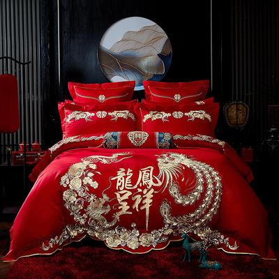 2020新款40s13372纯棉婚庆刺绣多件套系列 标准四件套床单式 龙凤呈祥