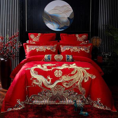 2020新款40s13372纯棉婚庆刺绣多件套系列 标准六件套床单式 龙凤瑞彩
