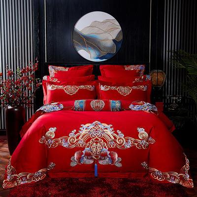 2020新款40s13372纯棉婚庆刺绣多件套系列 标准六件套床单式 鸳鸯戏水
