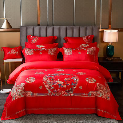 2020新款60s长绒棉婚庆刺绣多件套系列 标准六件套床单式 百子情缘