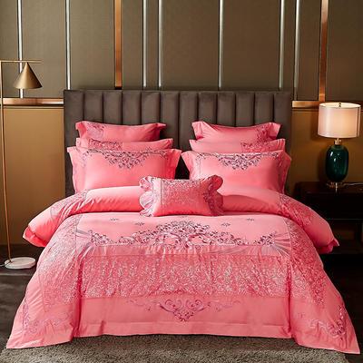 2020新款60s长绒棉婚庆刺绣多件套系列 标准六件套床单式 浪漫花都 粉