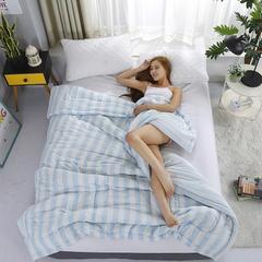 夏被(双层纱模特图) 110*140cm 蓝色条纹