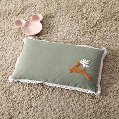 2018新款-水洗棉毛巾绣儿童棉花枕 30*50cm 麋鹿军绿色