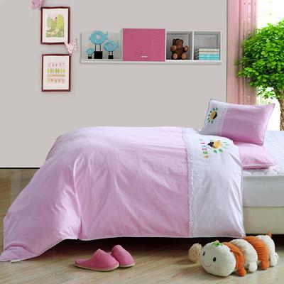 2020新款-色布单拼幼儿园套件 套餐一:被套、垫套、枕套 粉红色 粉白拼接