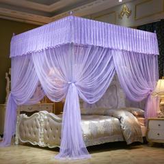 宫廷落地式三开门方顶蚊帐一帘幽梦 1.8m(6英尺)床 紫色-22mm