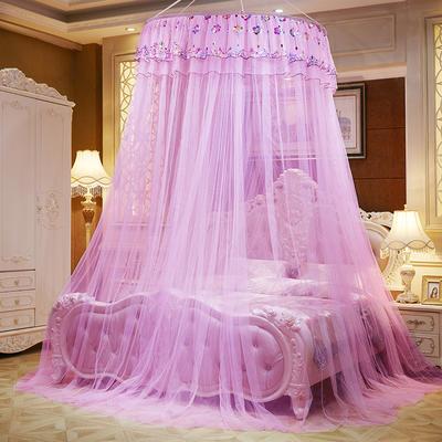 圆顶吊顶蚊帐落地式蚊帐-直径1米-七彩曼舞 1.2*2M床 粉色