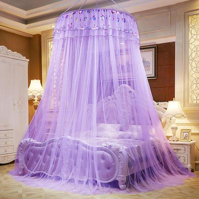 圆顶吊顶蚊帐落地式蚊帐-直径1米-七彩曼舞 1.2*2M床 紫色