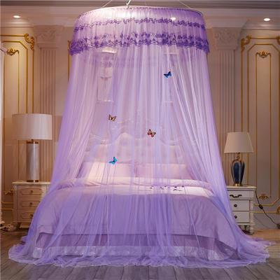 【直径1.2米】【配送蝴蝶2019新款豪华吊顶式落地蚊帐-D2 直径1.2m 紫