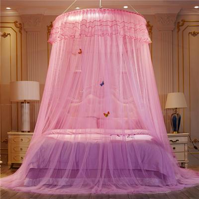 【直径1.2米】【配送蝴蝶】2019新款吊顶落地蚊帐-D3 直径1.2米 粉色