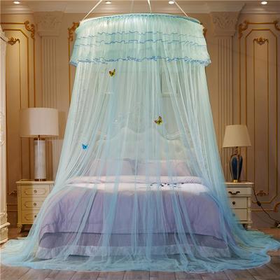 【直径1.2米】【配送蝴蝶】2019新款吊顶落地蚊帐-D3 直径1.2米 水绿