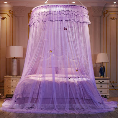 【直径1.2米】【配送蝴蝶】2019新款吊顶落地蚊帐-D3 直径1.2米 紫