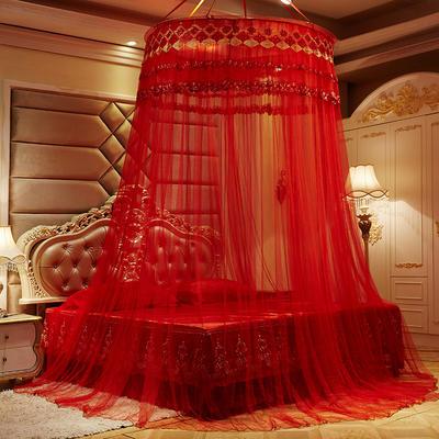 2019新款圆顶落地蚊帐-红色风情 直径1.2米 红色风情-大红