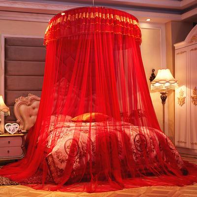 2019新款吊顶刺绣款蚊帐-大红 直径1.2米 大红色-直径1.2米